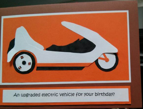 electric car birthday card