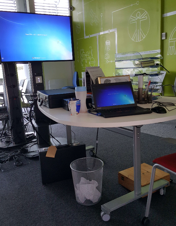 Photo of tabletop escape game setup